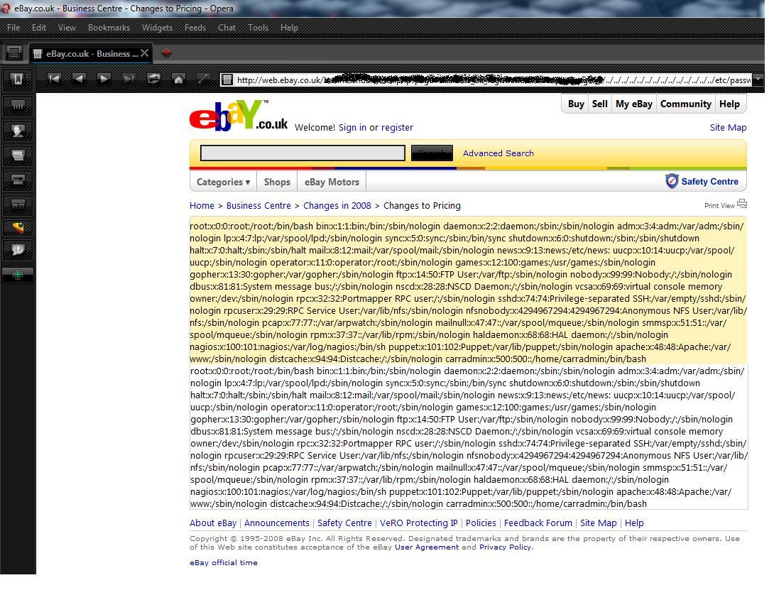 Critical Xss And Directory Traversal Flaws On Ebay Co Uk Website News Xssed Com